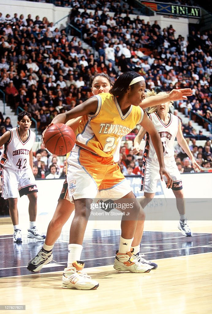 American basketball player Chamique Holdsclaw of the University of Tennessee with the ball during a game against the University of Connecticut...