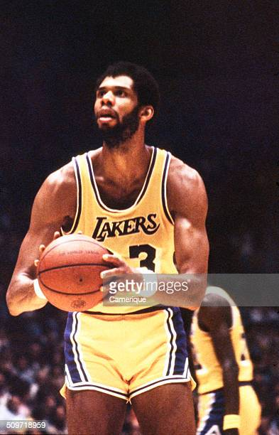 American basketball player Kareem Abdul Jabbar of the Los Angeles Lakers lines up a shot September 1982