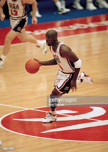 American basketball player Michael Jordan pictured in action for the United States basketball team in their semi final game against Lithuania at the...