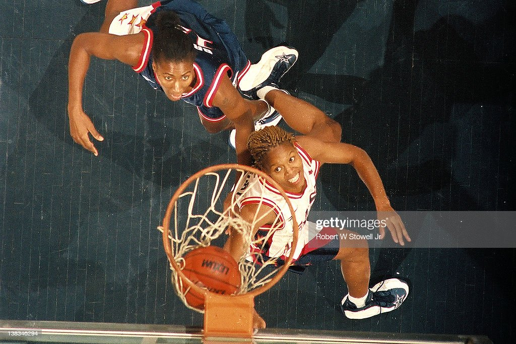 American basketball player Nikki McCray watches for the rebound during the first American Basketball League AllStar game Hartford Connecticut...