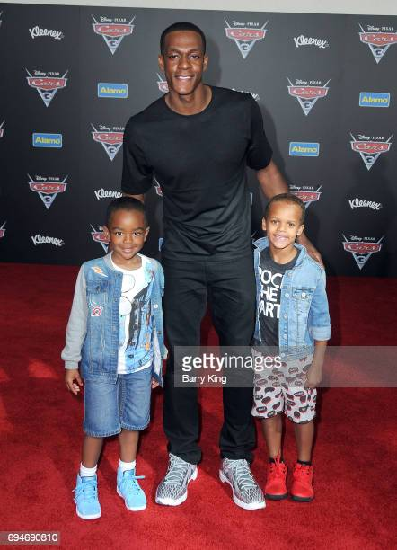 American basketball player Rajon Rondo and guests attend the World Premiere of Disney and Pixar's 'Cars 3' at Anaheim Convention Center on June 10...