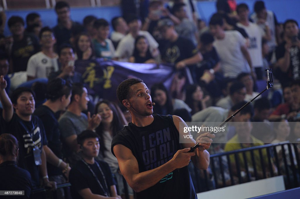 American basketball player <a gi-track='captionPersonalityLinkClicked' href=/galleries/search?phrase=Stephen+Curry+-+Basketball+Player&family=editorial&specificpeople=5040623 ng-click='$event.stopPropagation()'>Stephen Curry</a> attends a commercial event on September 8, 2015 in Shanghai, China.