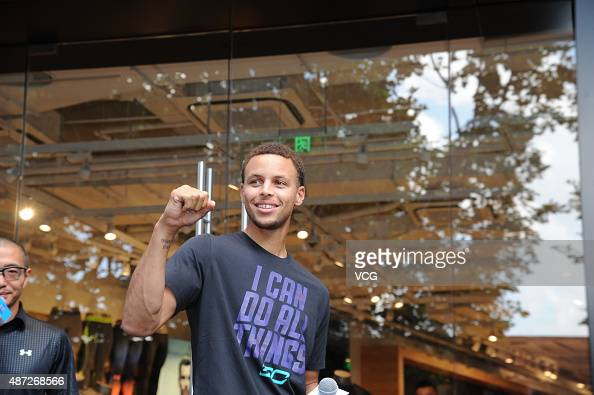 American basketball player Stephen Curry attends Under Armour activity on September 8 2015 in Shanghai China