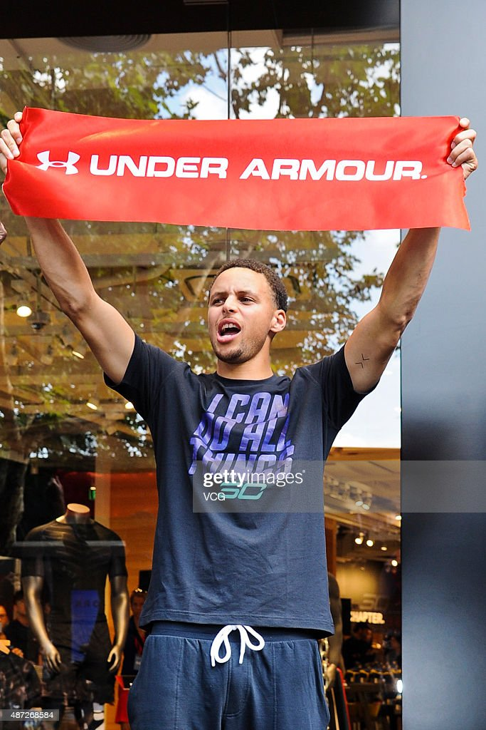 American basketball player <a gi-track='captionPersonalityLinkClicked' href=/galleries/search?phrase=Stephen+Curry+-+Basketball+Player&family=editorial&specificpeople=5040623 ng-click='$event.stopPropagation()'>Stephen Curry</a> attends Under Armour activity on September 8, 2015 in Shanghai, China.