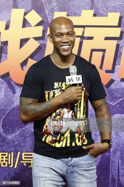American basketball player Stephon Marbury attends a press conference of director Yang Zi's film 'My Other Home' on July 23 2017 in Beijing China