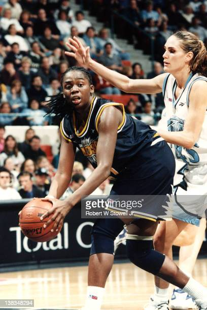 American basketball player Tari Phillips of the Seattle Reign with the ball during a game against the New England Blizzard Hartford Connecticut 1996