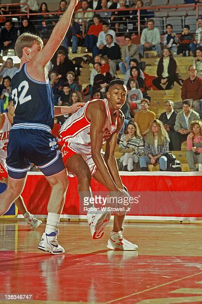 American basketball player Vin Baker of the University of Hartford with the ball during a game against the University of Maine Hartford Connecticut...
