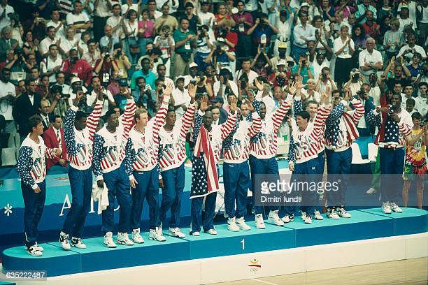American basketball players of the Dream Team receive their gold medal during the 1992 Olympics | Location Barcelona Spain