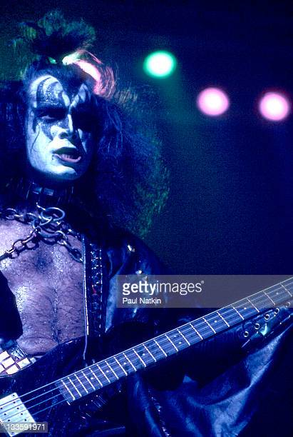 American bass player and vocalist Gene Simmons of the rock band Kiss performs on stage at the Chicago Stadium Chicago Illinois January 16 1978