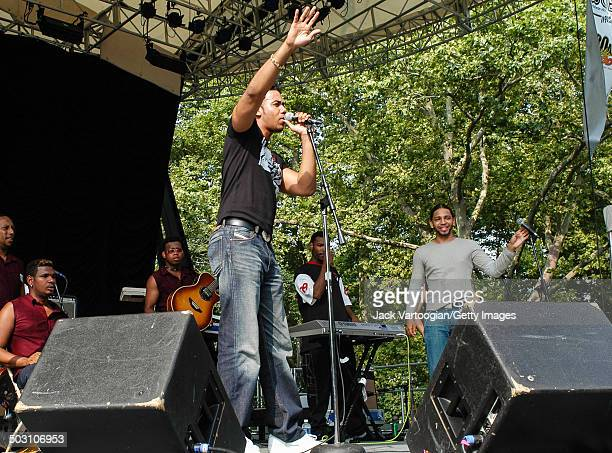 American Batchata singer Anthony 'Romeo' Santos leads his band Aventuraat Central Park SummerStage New York New York August 2 2003