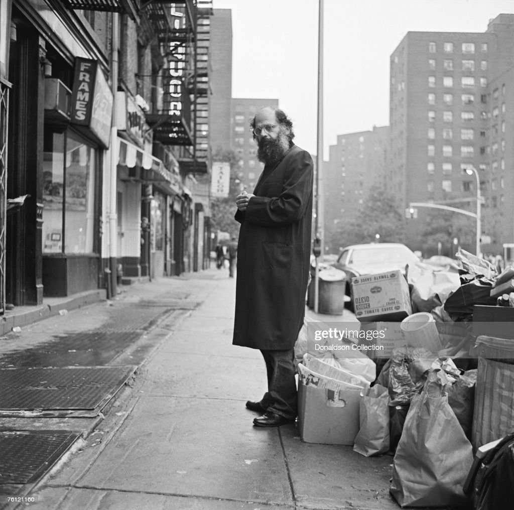 American Beat poet and writer Allen Ginsberg (1926 - 1997) stands on East 14 Street, during a photoshoot held in 1974 in New York City.