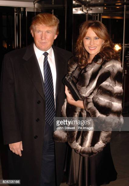 American billionaire property tycoon Donald Trump with his wife Melania arrive at the Museum of Modern Art in New York last night together with the...