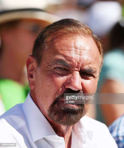 American billionaire real estate developer Jorge M Pérez looks on during Day 8 of the Miami Open at Crandon Park Tennis Center on March 27 2017 in...