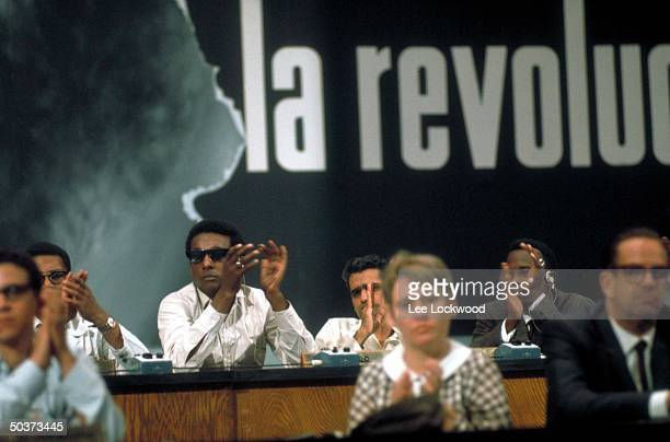 American black activist Stokely Carmichael applauding while attending first congress of the Havanabased Organization of Latin American Solidarity