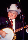 American Bluegrass musician Dr Ralph Stanley plays banjo as he leads his band the Clinch Mountain Boys at Tramps nightclub New York New York February...