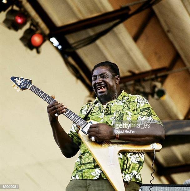 FESTIVAL Photo of Albert KING performing live onstage playing Gibson Flying V guitar