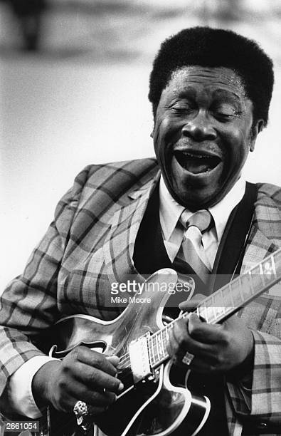 American blues guitarist and singer B B King in performance