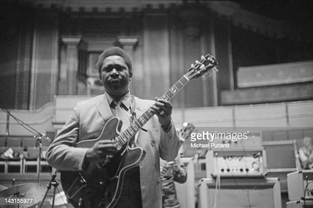 American blues guitarist and singer BB King rehearsing at the Royal Albert Hall London 22nd April 1969