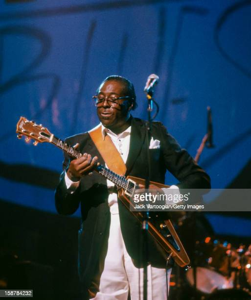 American blues musician Albert King playing his signatiure Gibson Flying V guitar durign a performace in the Benson Hedges Blues '89 Festival at the...