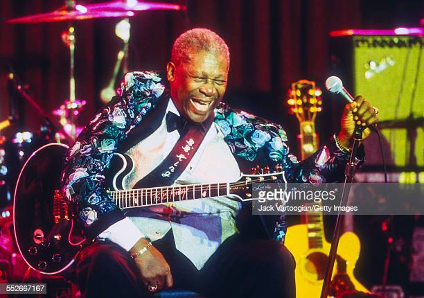American Blues musician BB King laughs onstage during the last set of the opening week of his new just opened BB King's Blues Club Grill New York New...