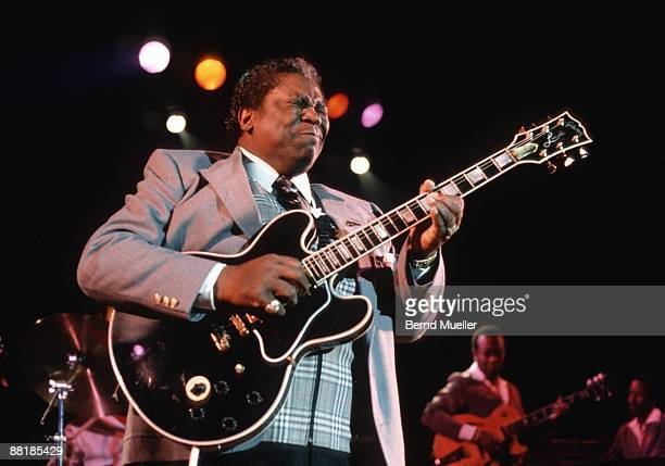 American blues musician BB King performs on stage at the Stadthalle in Erlangen Germany in March 1989