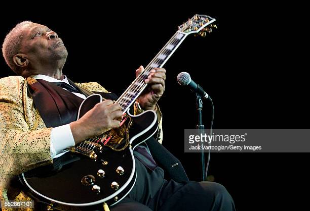American Blues musician BB King plays guitar as he leads his band during a performance at the BB King Blues Festival concert at Madison Square...