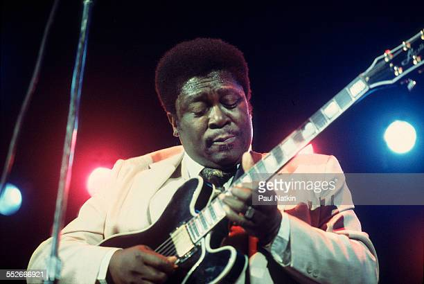 American Blues musician BB King plays guitar as he performs onstage at the Rosemont Horizon Rosemont Illinois June 21 1980