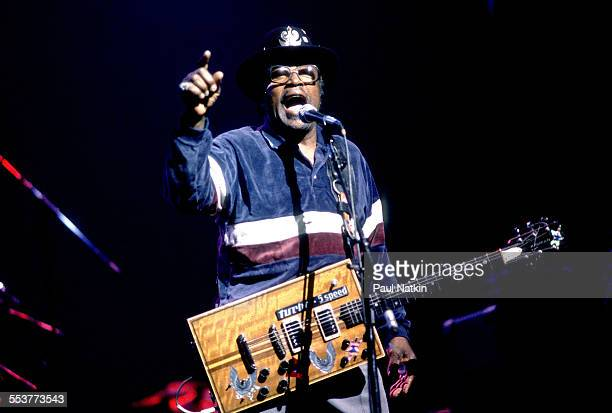 American Blues musician Bo Diddley plays guitar as he performs onstage Chicago Illinois September 14 1979