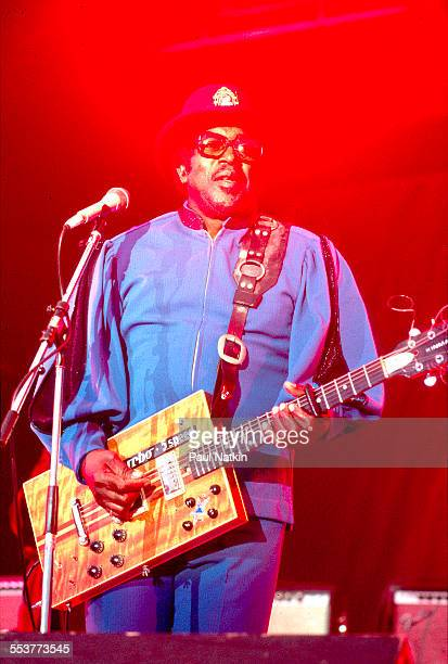 American Blues musician Bo Diddley plays guitar as he performs onstage at the Petrillo bandshell in Grant Park Chicago Illinois June 6 1986