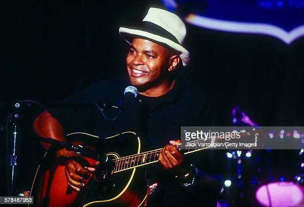American Blues musician Guy Davis plays guitar as he performs at the first anniversary celebration of the BB King Blues Club Grill New York New York...