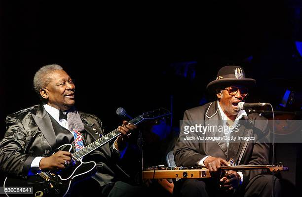 American Blues musicians BB King and Bo Diddley play guitars at the Second Anniversary Celebration of BB King Blues Club and Grill New York New York...