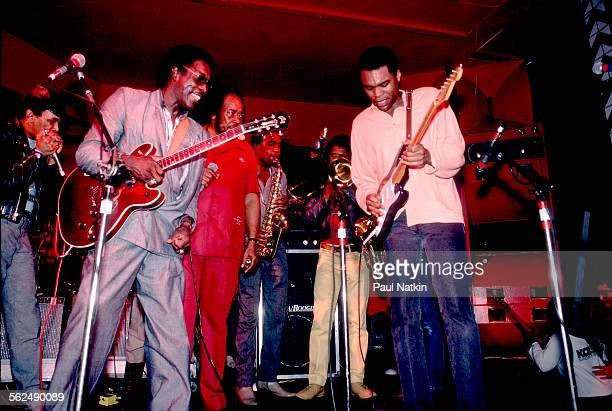 American Blues musicians Buddy Guy and Robert Cray perform together on stage Chicago Illinois April 19 1987