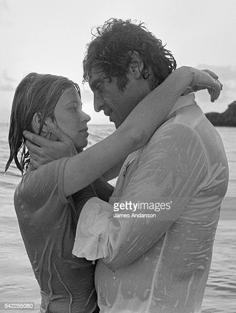 American born French singer and songwriter Joe Dassin on holiday with his fiancée and future wife Christine Delvaux