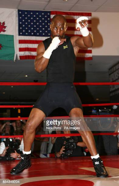American boxer Bernard Hopkins shadow boxes during his open workout at the Planet Hollywood Hotel ahead of Saturday's bout against Joe Calzaghe in...