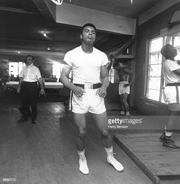 American boxer Cassius Clay trains for his World Heavyweight Boxing Championship fight against fellow American Sonny Liston at Miami Beach Florida...
