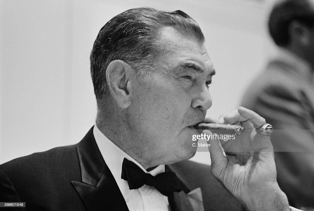 American boxer <a gi-track='captionPersonalityLinkClicked' href=/galleries/search?phrase=Jack+Dempsey+-+Boxer&family=editorial&specificpeople=15348667 ng-click='$event.stopPropagation()'>Jack Dempsey</a> (1895 - 1983), a former World Heavyweight Champion, during a dinner at the Hilton Hotel in London, UK, 23rd October 1967.