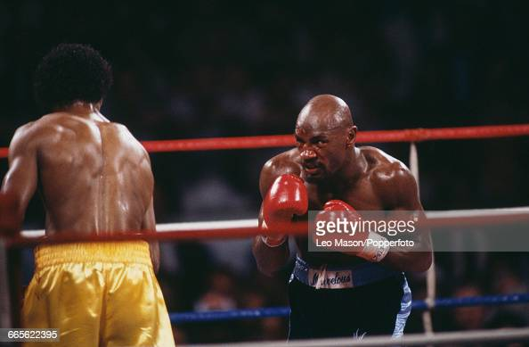 American boxer Marvelous Marvin Hagler pictured right in dark shorts in action against fellow American boxer Thomas Hearns in yellow shorts in a...