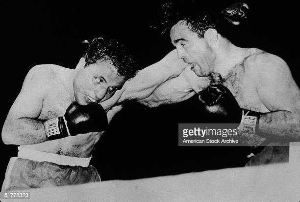 American boxer Max Baer and Italian boxer Primo Carnera during the bout for the Heavyweight Championship Long Island City New York June 14 1934 Baer...