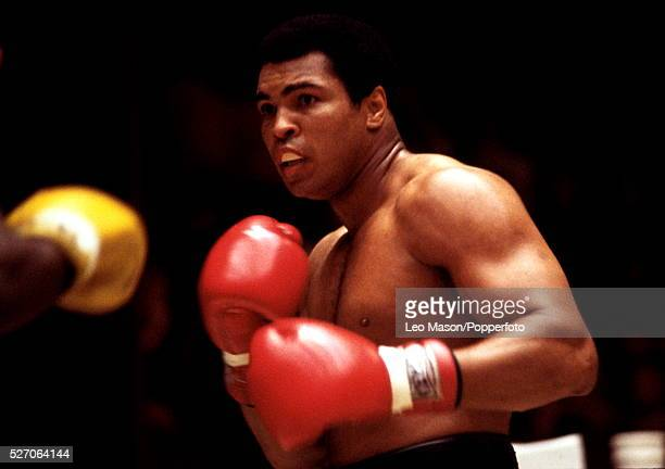 American boxer Muhammad Ali pictured in action in a sparring session during training prior to his fight against fellow American boxer Leon Spinks at...