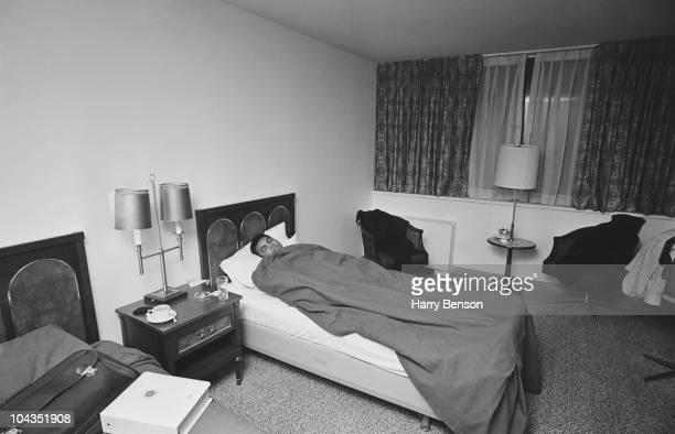 American boxer Muhammad Ali sleeping in his hotel bedroom 15th February 1967