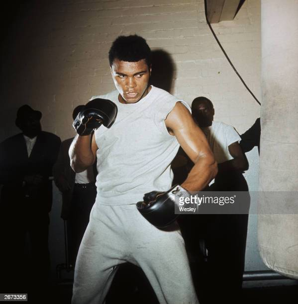American boxer Muhammad Ali training at the Territorial Army Gymnasium in White City London