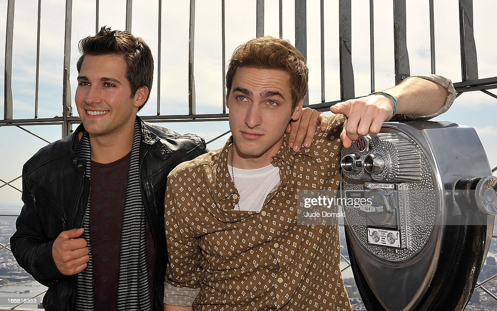 American boy band 'Big Time Rush' members <a gi-track='captionPersonalityLinkClicked' href=/galleries/search?phrase=James+Maslow&family=editorial&specificpeople=6522849 ng-click='$event.stopPropagation()'>James Maslow</a> and <a gi-track='captionPersonalityLinkClicked' href=/galleries/search?phrase=Kendall+Schmidt&family=editorial&specificpeople=6326531 ng-click='$event.stopPropagation()'>Kendall Schmidt</a> visit The Empire State Building on April 17, 2013 in New York City.