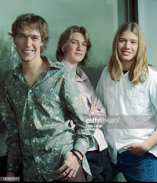 American boy band Hanson backstage during a recording of the TV show 'CDUK' Riverside Studios Hammersmith London September 2000 Left to right Isaac...