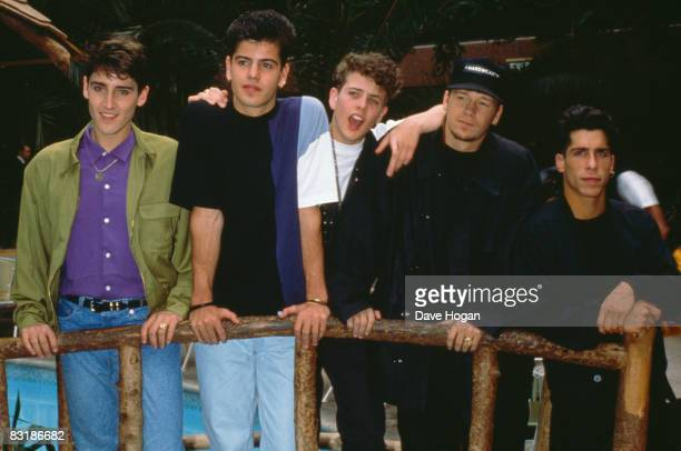 American boy band New Kids On The Block at the Sheraton Skyline Hotel Heathrow London 25th April 1990