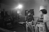 American broadcast journalist Barbara Walters conducts an interview New York 1966