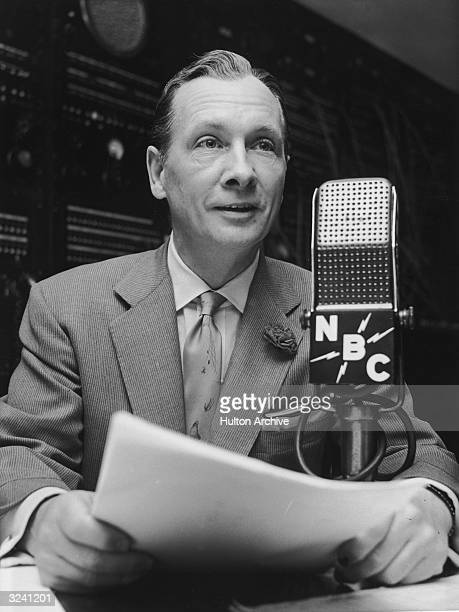 American broadcast journalist John Cameron Swayze speaking into an NBC microphone during a radio newscast