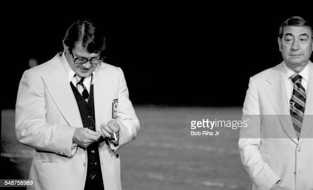 American broadcasters and cohosts of 'Monday Night Football' Alex Karras and Howard Cosell Los Angeles California December 9 1974