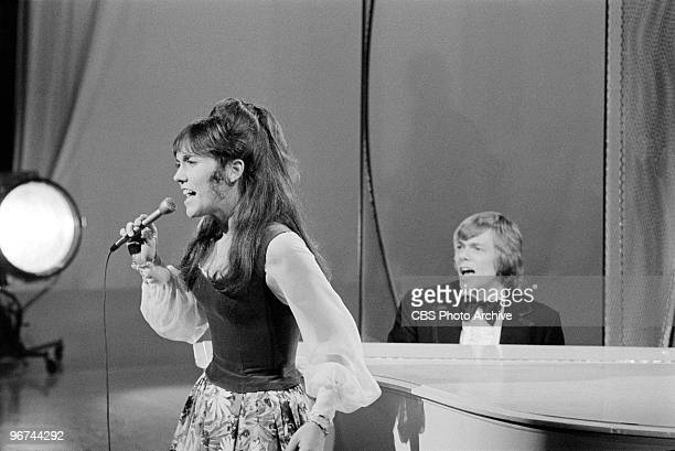 American brother and sister musicians The Carpenters Karen Richard Carpenter appear on an episode of the television comedy variety program 'The Carol...