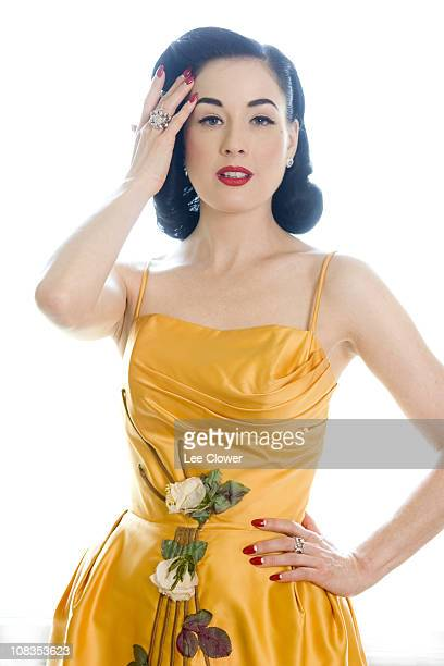 American burlesque artist model and actress Dita Von Teese poses in April 2009 in New York City for the New York Times