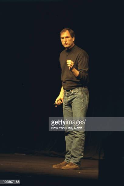 American businessman and engineer cofounder of Apple Inc Steve Jobs delivers an address as the keynote speaker at the Seybold Seminars Javits Center...